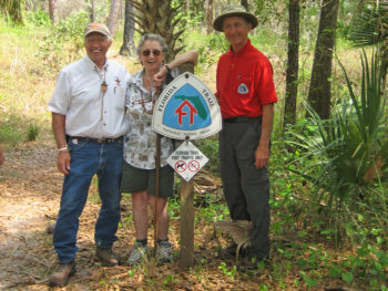 Tom Montoya, Margaret Scruggs, and Jim Kern at the 40th Anniversary of the Florida Trail