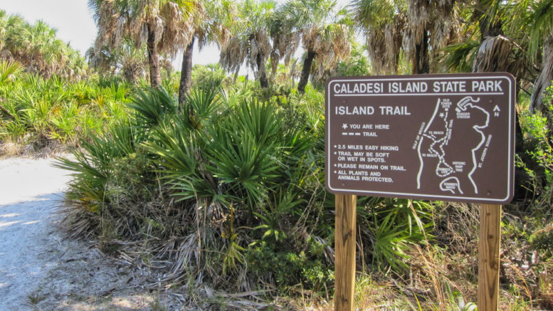Caladesi Island Trail sign