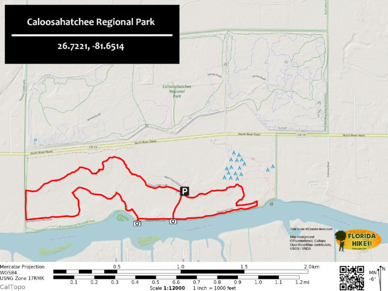 Caloosahatchee Regional Park Trail Map