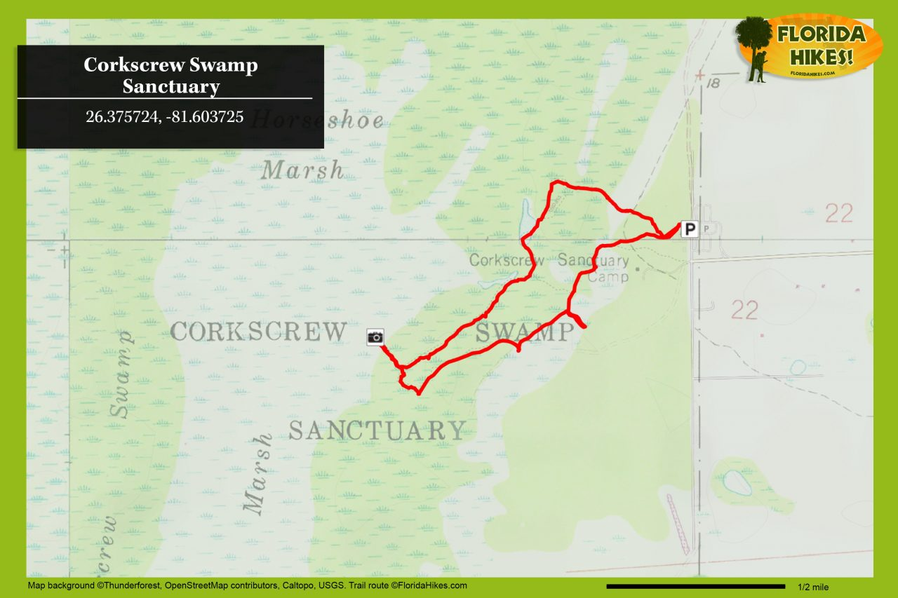 Corkscrew Swamp Sanctuary map