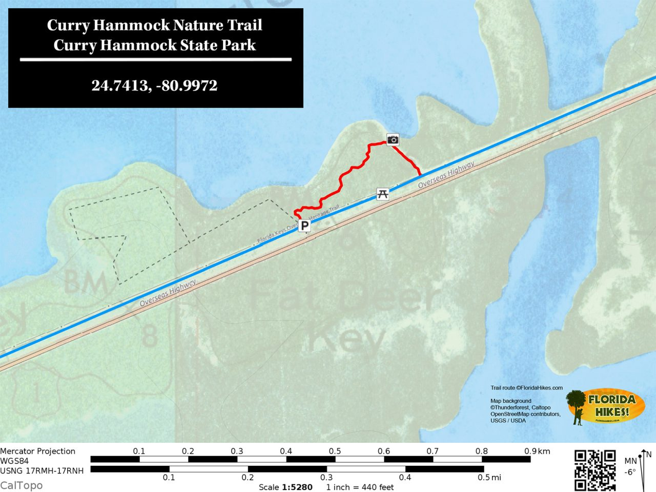 Curry Hammock Nature Trail map