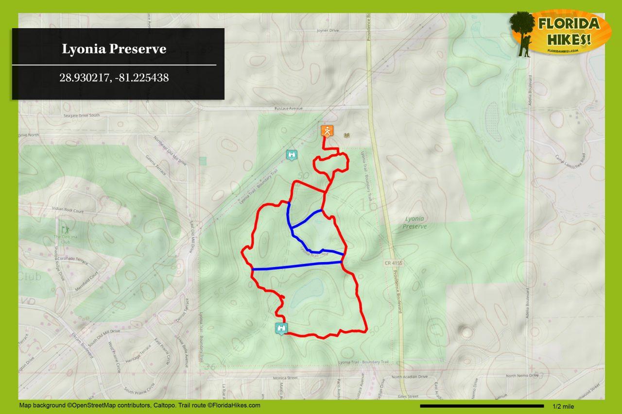 Lyonia Preserve trail map