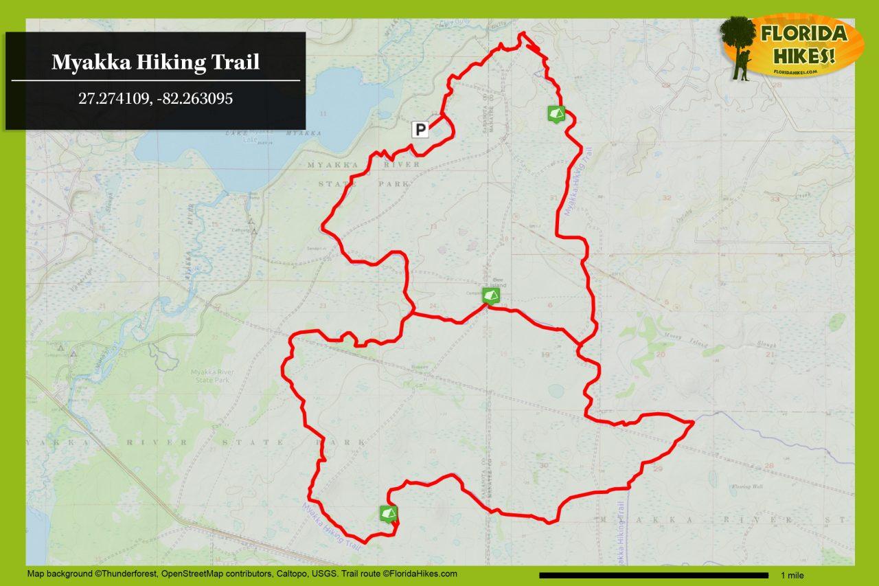 Myakka Hiking Trail map