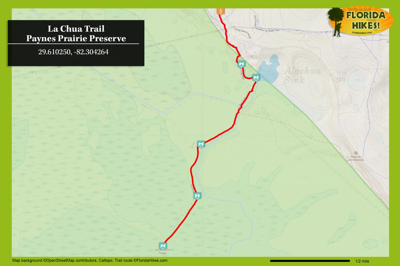 La Chua Trail map