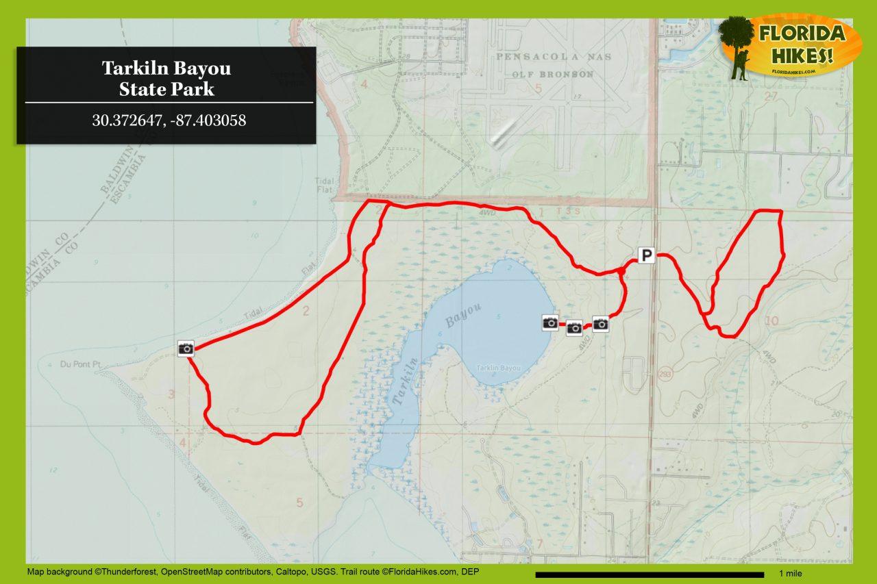 Tarkiln Bayou trail map