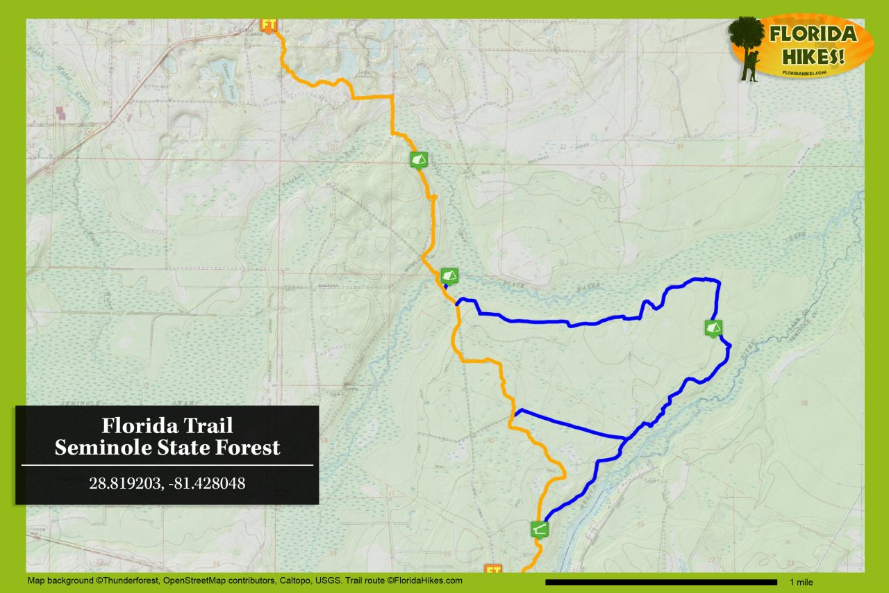 Florida Trail Seminole State Forest map