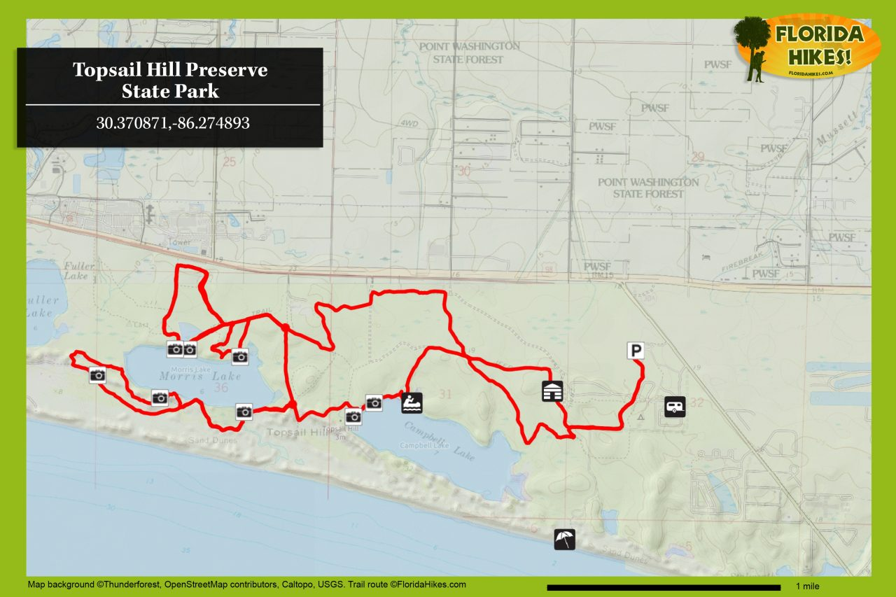 Topsail Hill trail map