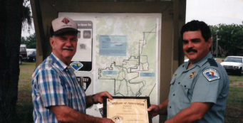 Wiley Dykes Sr (left) receives award for Lower Wekiva trail route (via Marguerite Dykes)
