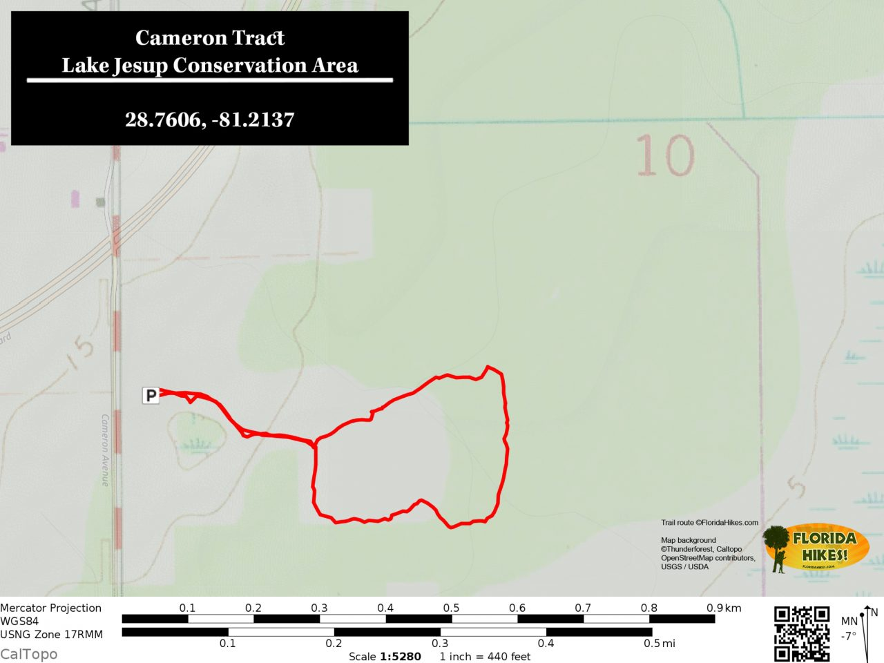 Lake Jesup Cameron Tract trail map
