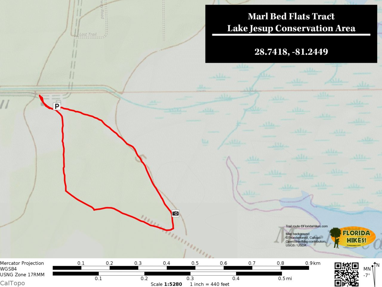 Lake Jesup Marl Bed Flats trail map