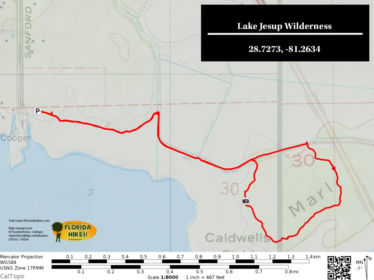 Lake Jesup Wilderness trail map