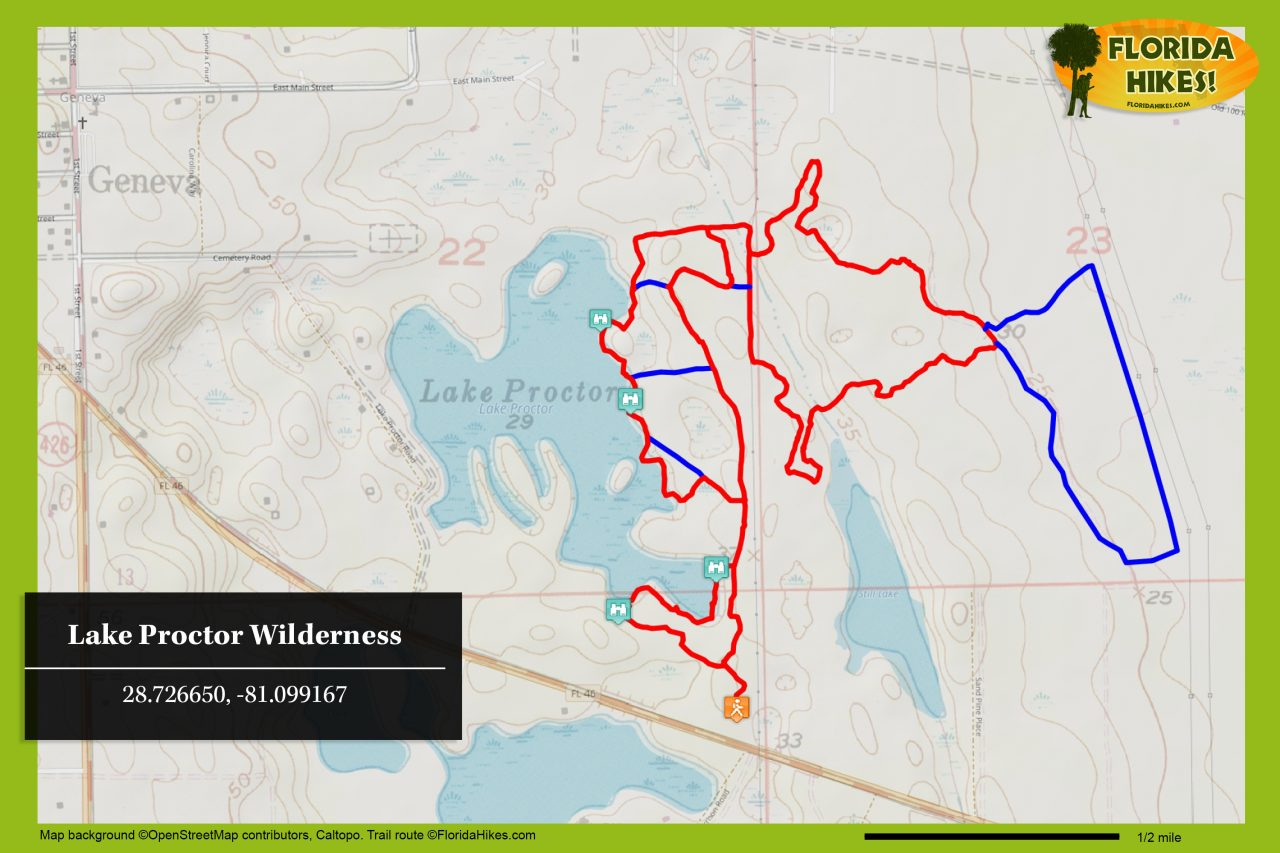 Lake Proctor Wilderness trail map