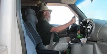 JK driving the support van