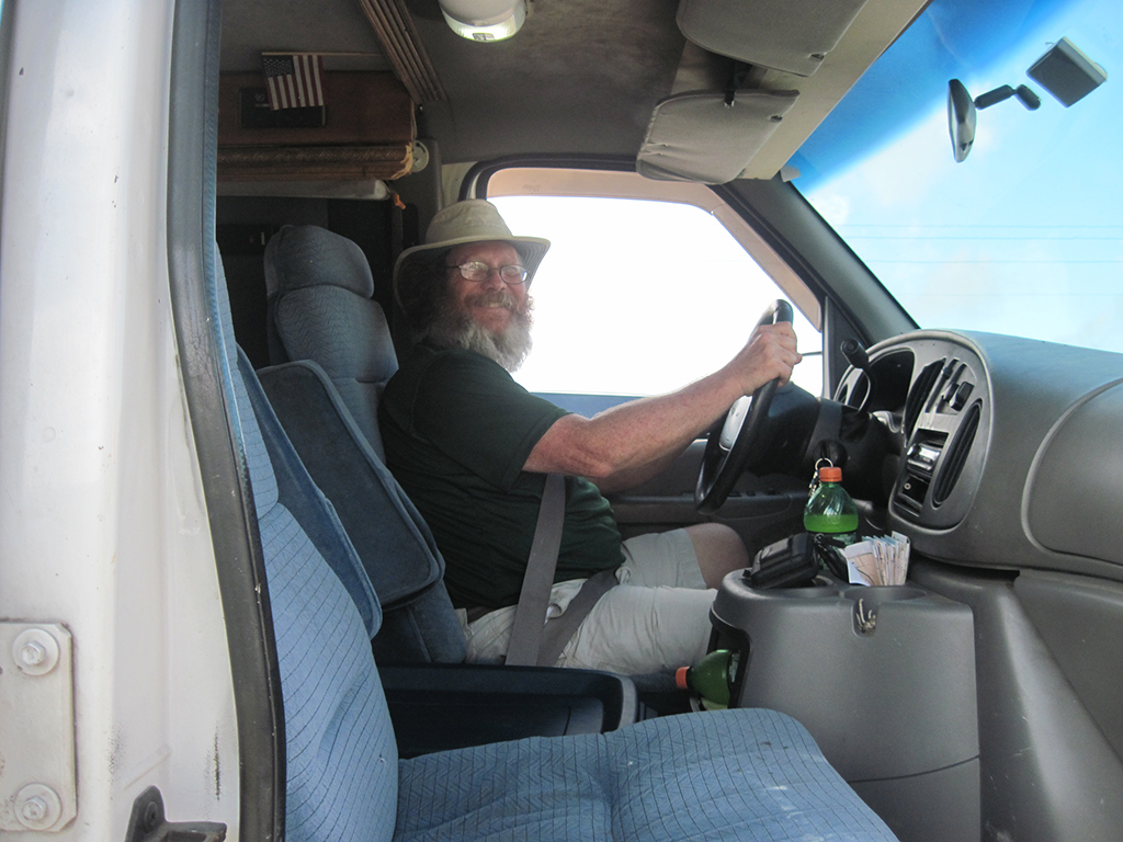 JK driving the support van