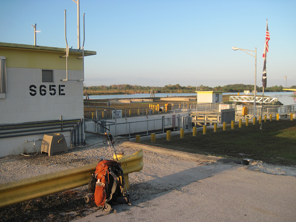Water break at the S-65E lock on the Kissimmee