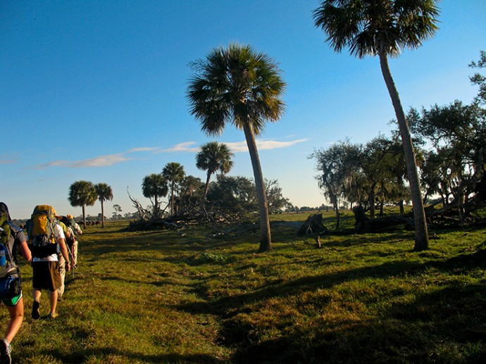 Florida Trail backpackers cross a ranch