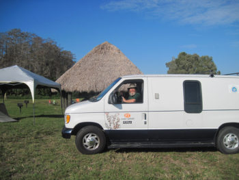 JK driving the support van at the Seminole Reservation