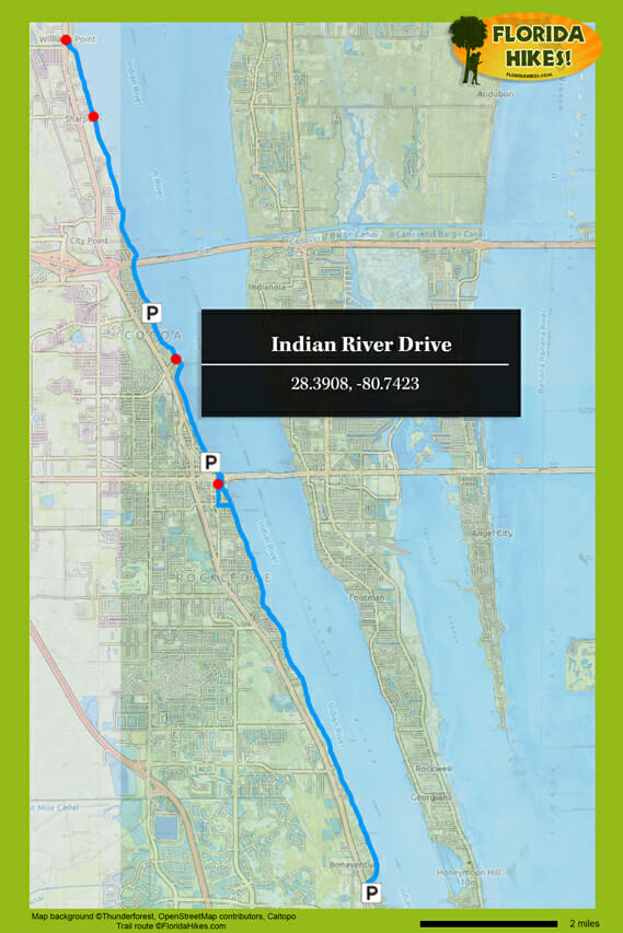 Indian River Florida Map.Biking Indian River Drive Florida Hikes