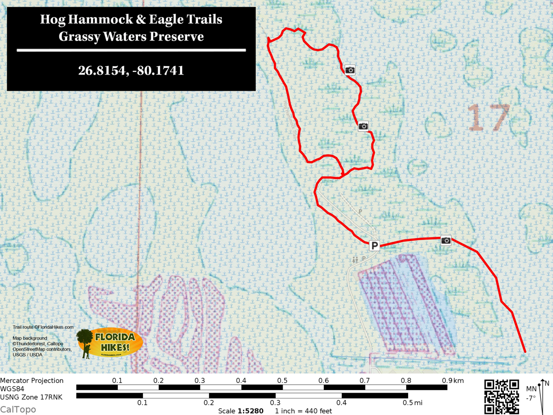 Grassy Waters Eagle trail map