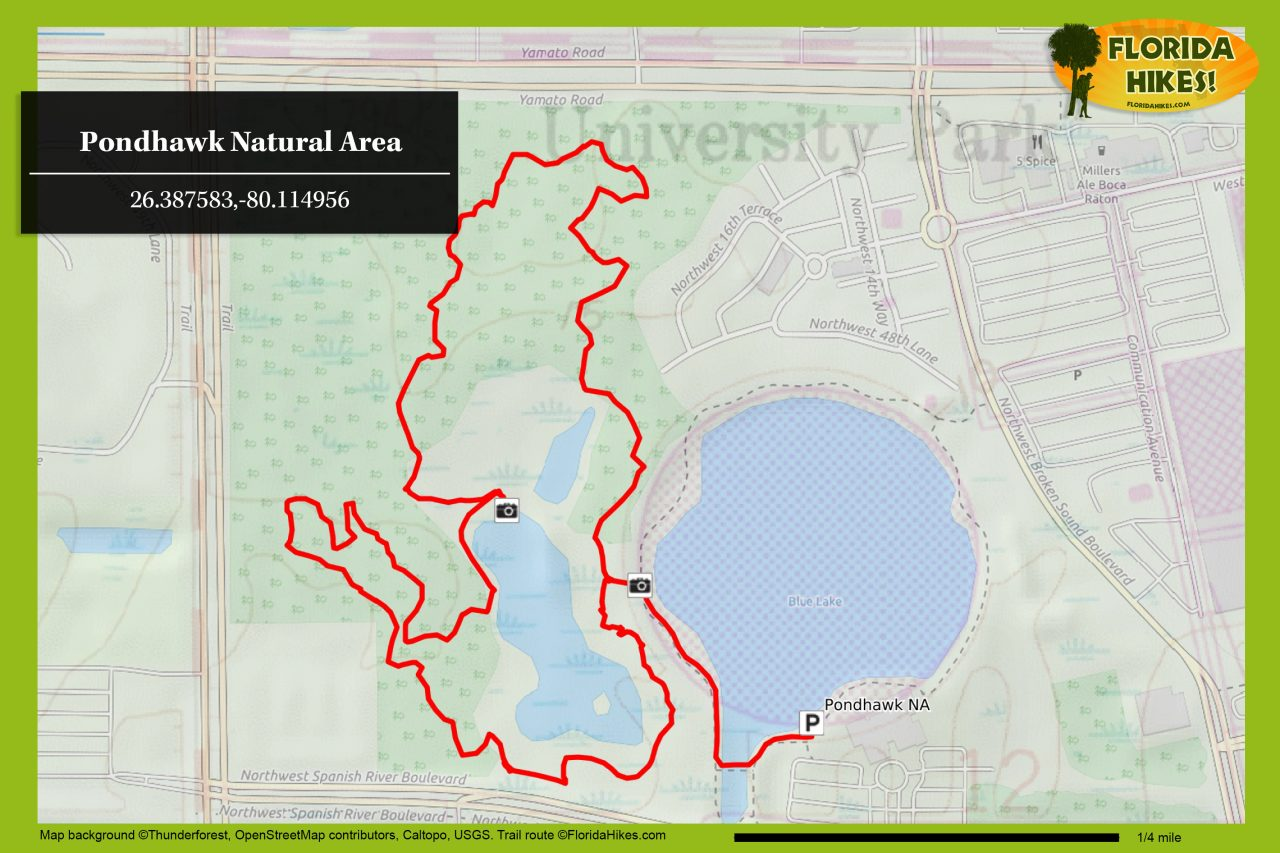 Pondhawk Natural Area trail map