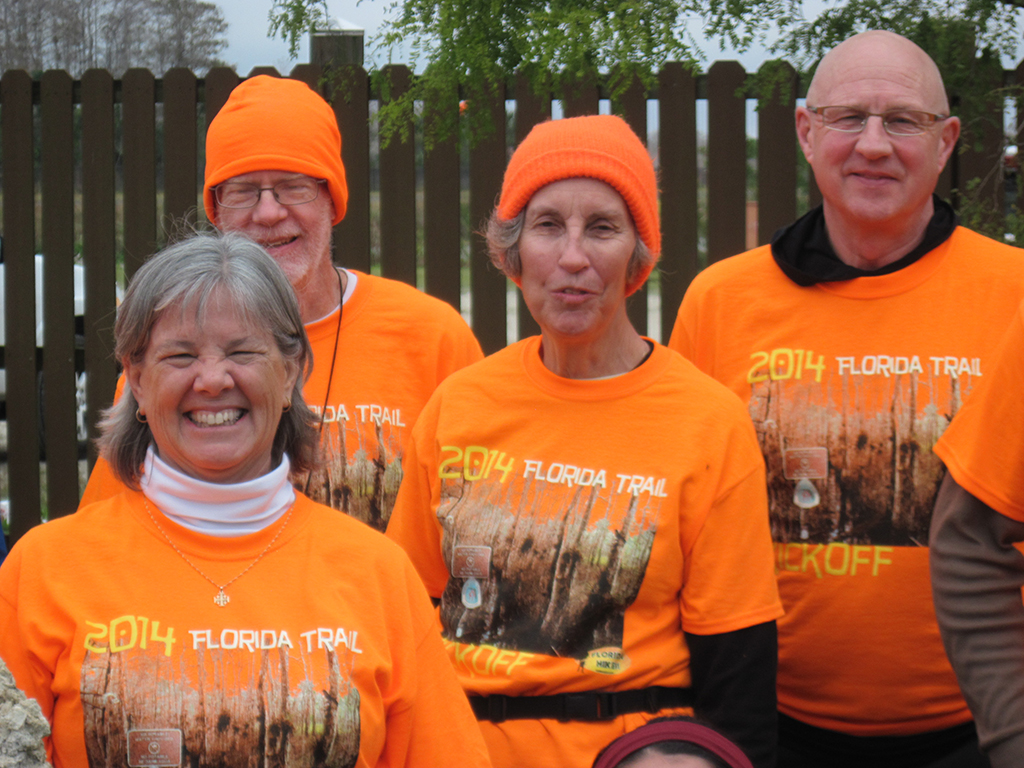 Hikers in their kickoff t-shirts