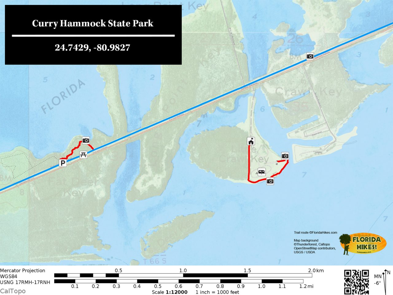 Curry Hammock State Park map