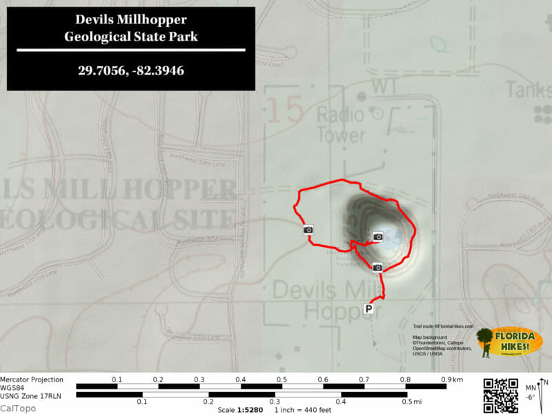Devils Millhopper Trail Map