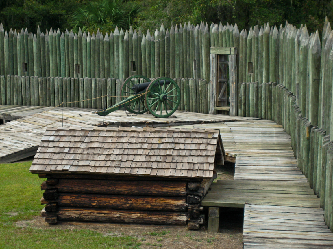 Inside the reconstructed Fort Foster