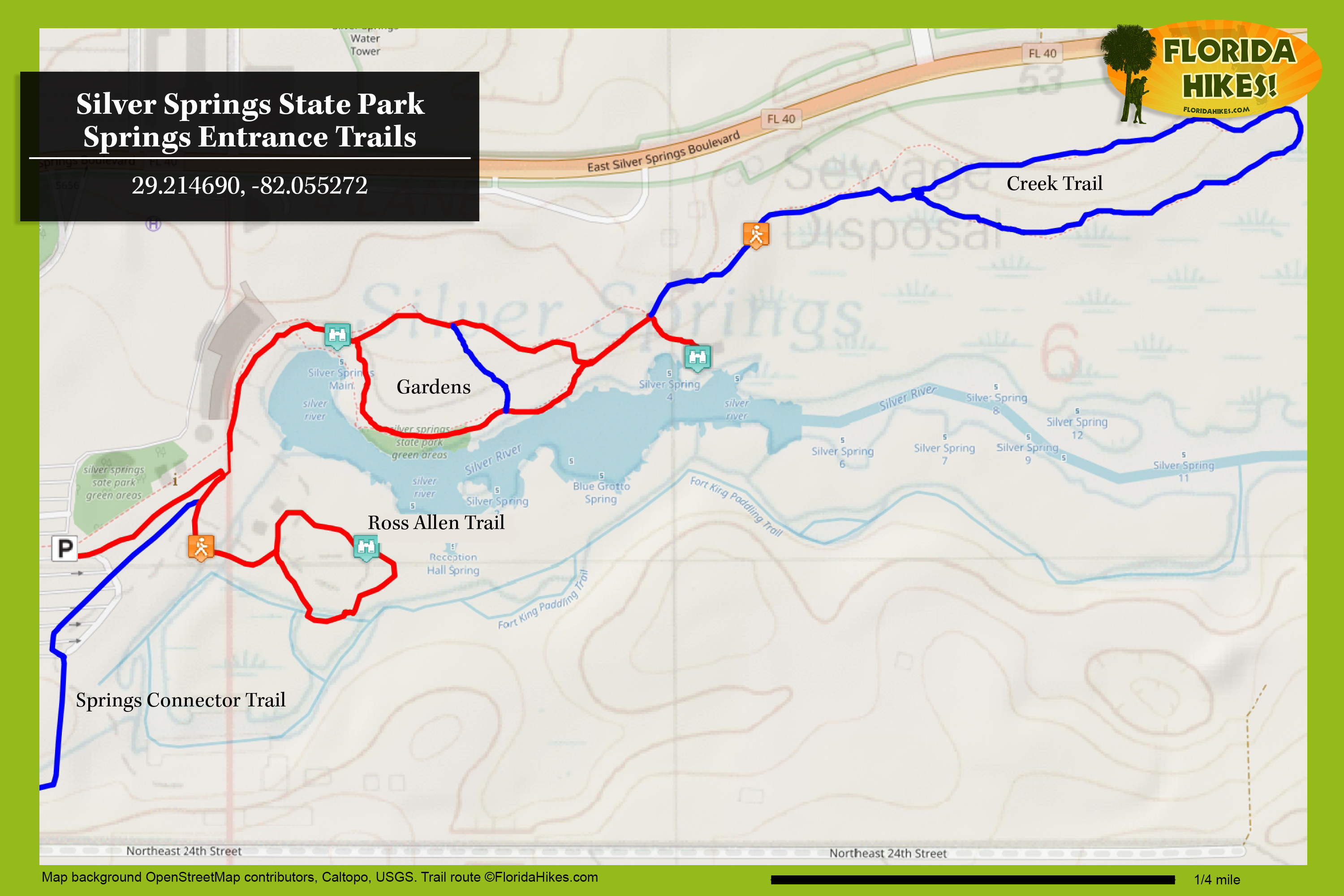 Map Of Florida State Parks.Silver Springs State Park Florida Hikes