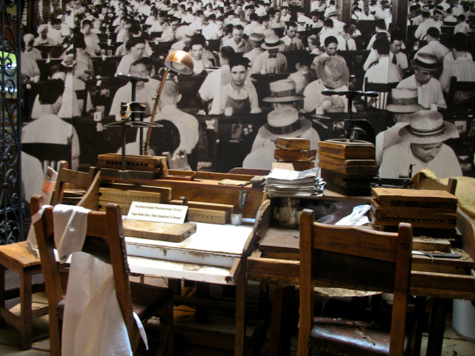 Replica of cigar workers desks inside the museum