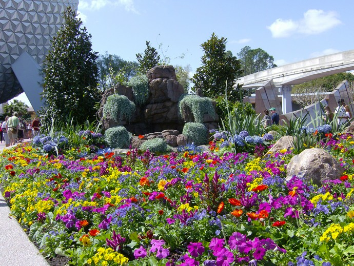 Brightly floral entrance to Epcot (Linda Friend)