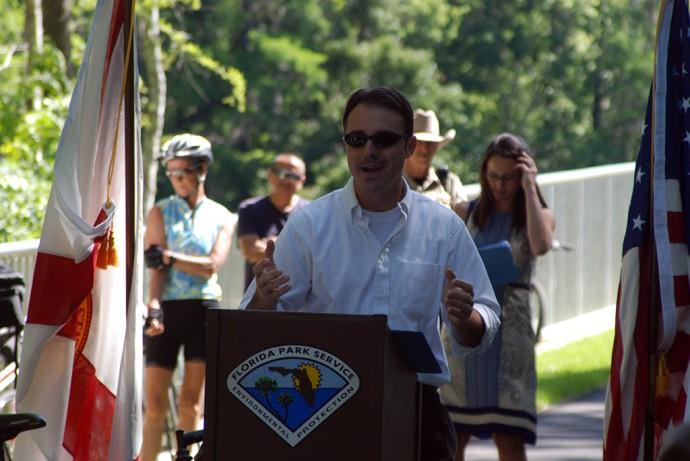 Dunnellon Mayor Nathan Whitt, an avid recreationalist, addresses the crowd