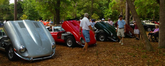 A line of 60s-70s XKE Jaguars