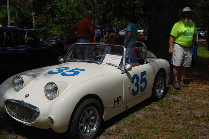 An Austin Healey Bugeyed Sprite at the show