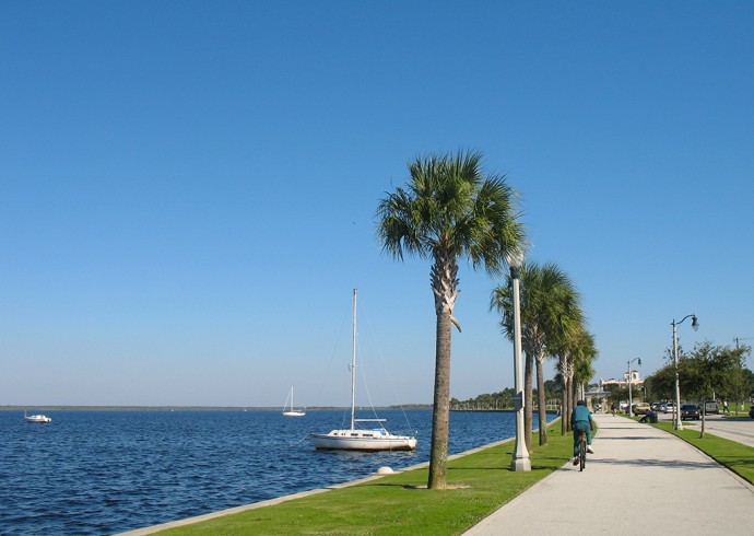 Along Sanford's Riverwalk on a sunny day