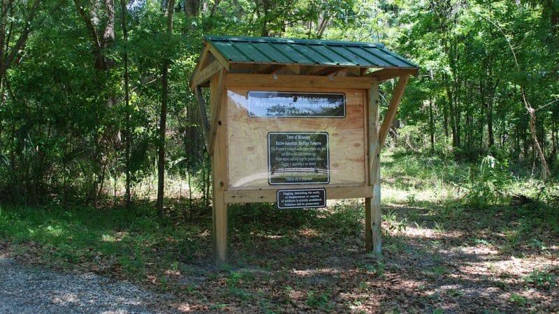 Micanopy Native American Preserve kiosk