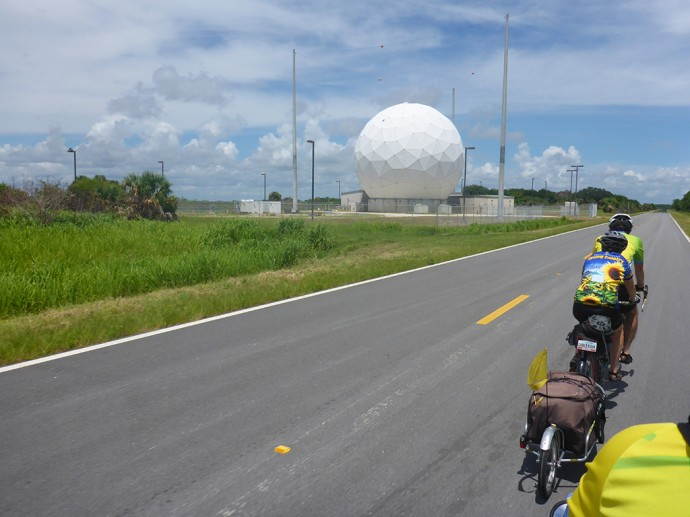 Riding past the tracking station along SR 3