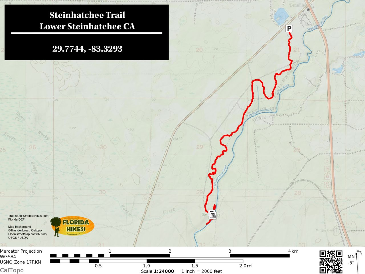 Steinhatchee Falls trail map