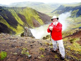Hiking across an Icelandic volcano