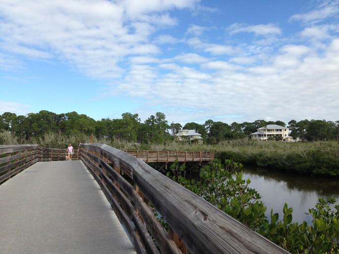 Big boardwalk bridge over Oyster Creek
