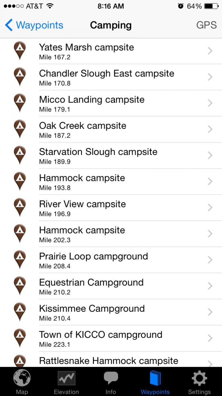 app campsite list