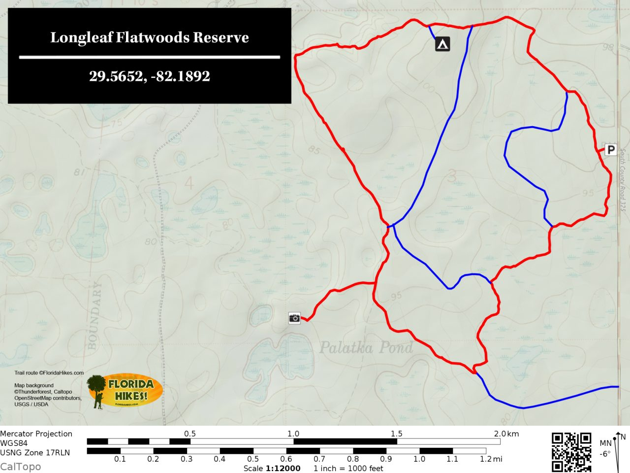 Longleaf Flatwoods Reserve trail map