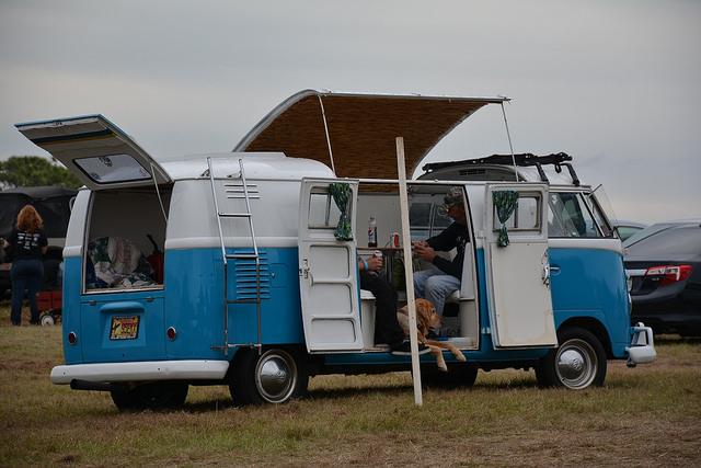 The unusual VW van in the parking lot