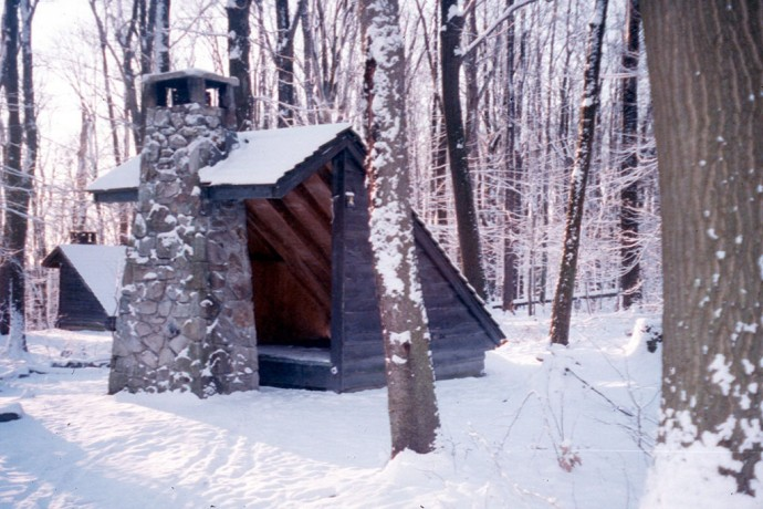 Snowy shelter on my first backpacking trip