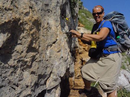 Tigger climbing down from Arbel Cliffs in Israel