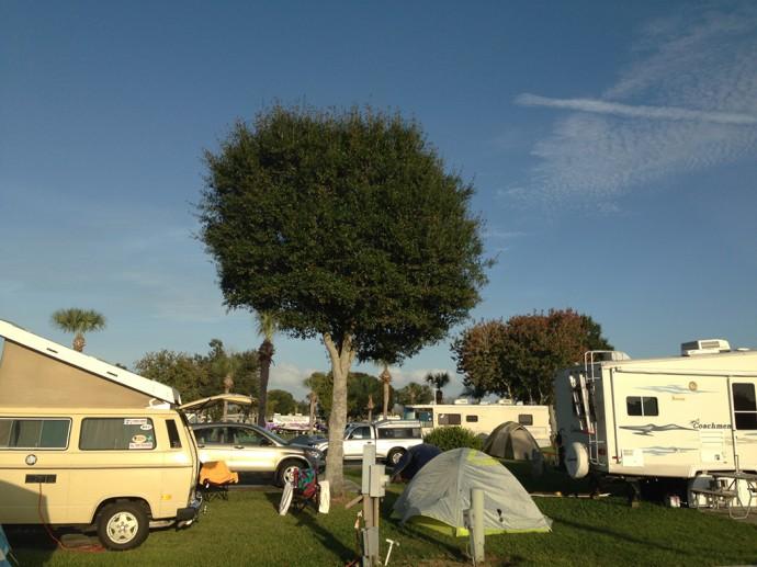 Camping in close quarters