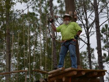 A pause between walkways at Orlando Tree Trek