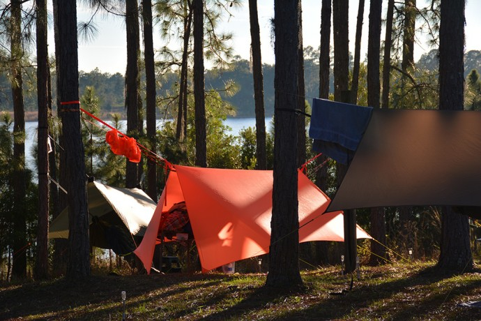 Hammocks filled every available space at Doe Lake
