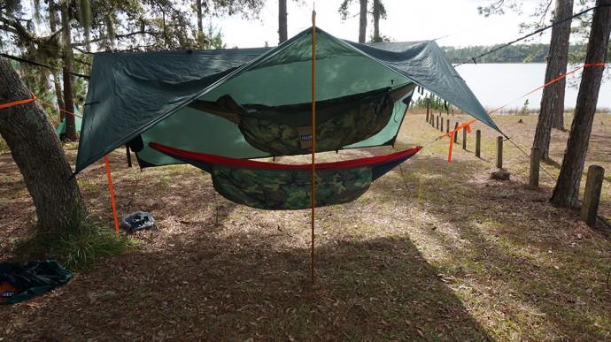 "A ""bunk bed"" made of hammocks"