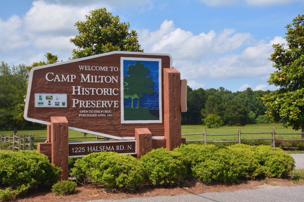entrance sign at Camp Milton
